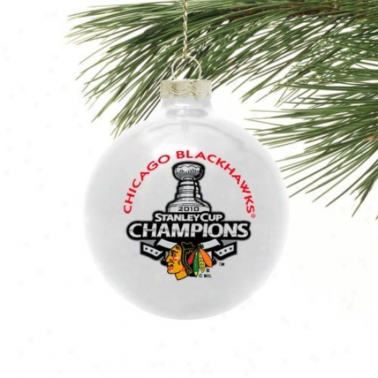 """chicago Blackhawks 2010 Nhl Stanley Cup Champions White 2 5/8"""" Small Traditional Ornament"""