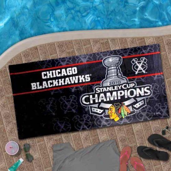 Chicago Blackhawks 2010 Stanley Chalice Champions Black Beach Towel