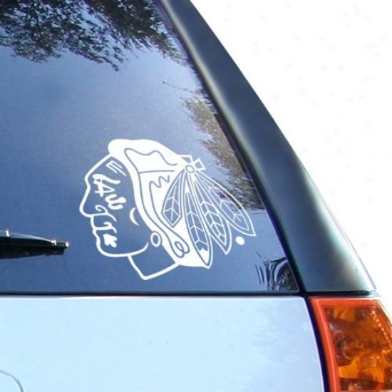 Chicago Blackhawks 8x8 White Decal Logo