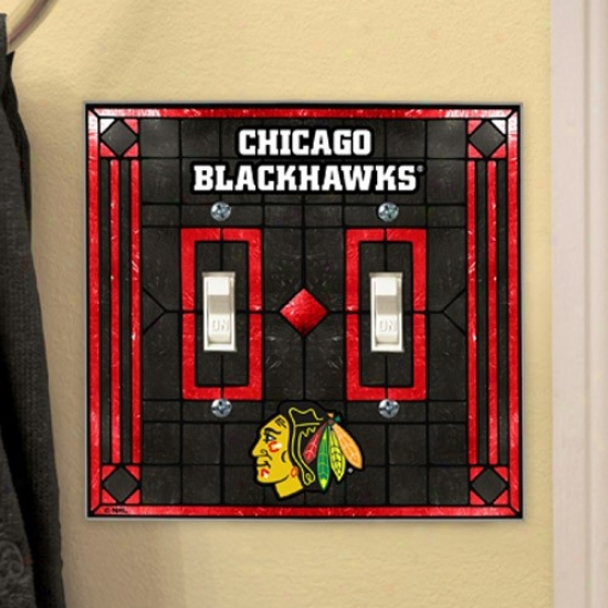 Chicago Blackhawks Art-glass Diuble Switch Plate Cover