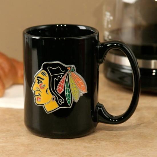 Chicago Blackhawks Black 15oz. Pewter Logo Ceramic Mug