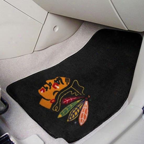Chicago Blackhawks Black 2-piece Carpet Car Mat Set