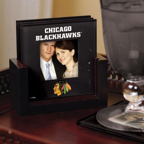 Chicago Blackhawks Black 4-pack Photo Coaster Set