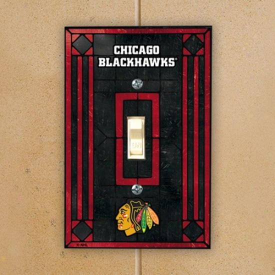 Chicago Blackhawks Black Art-glass Switch Plate Cover