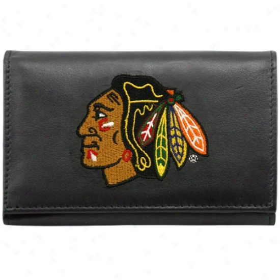 Chicago Blackhawks Black Embroidered Tri-fold Leathet Wallet