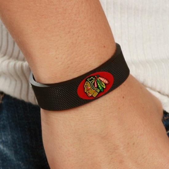 Chicago Blackhawks Black Hockey Bracelet
