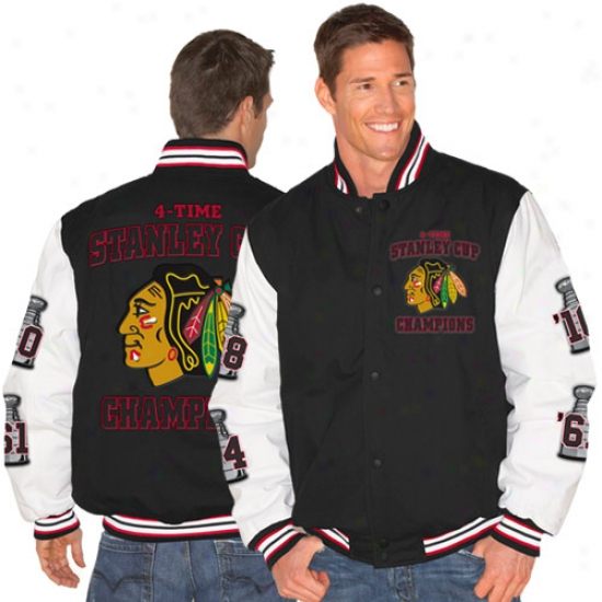 Chicago Blackhawks Jacket : Chicago Blackhawks Charcoal-white 2010 Nhl Stanley Cup Champions Twill 4-time Champions Jacket