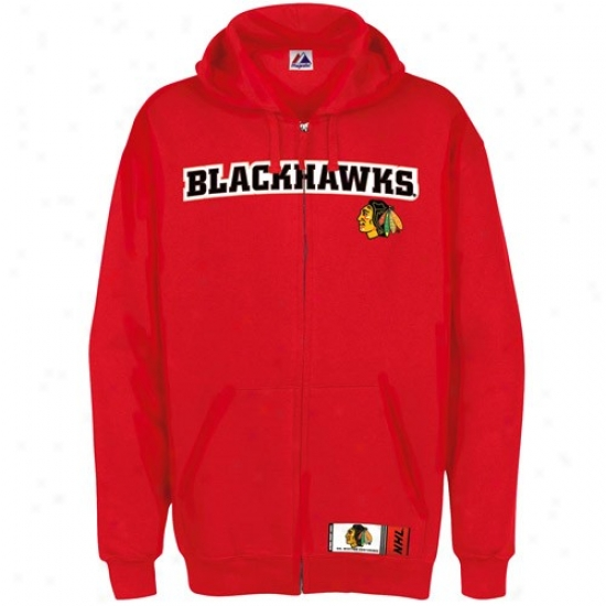 Chicago Blackhawks Jackets : Majestic Chicago Blackhawms Red Classic Heavyweight Full Zip Hoody Jackets