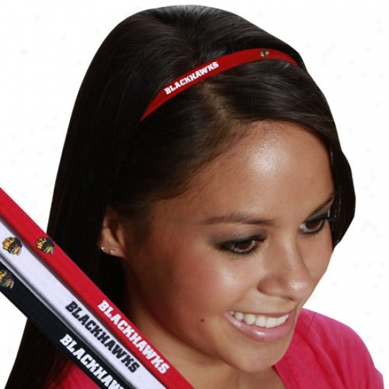 Chicago Blackhawks Ladies 3-pack Elastic Headbands