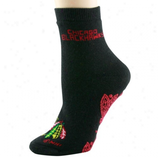 Chicago Blackhawks Ladies Black Slipper Socks