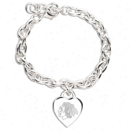 Chicago Blackhawks Ladies Silver Heart Charm Bracelet