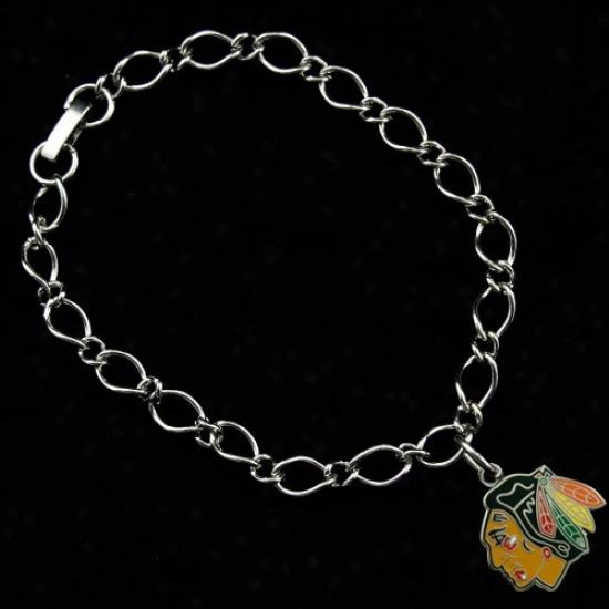 Chicago Blackhawks Ladies Silver-tone Charm Bracelet
