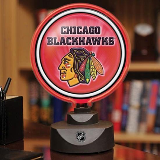 Chicago Blackhawks Neon Disk Lamp