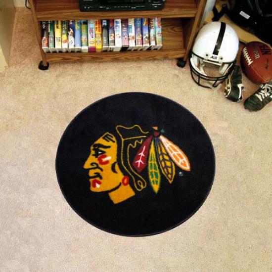 Chicago Blackhawks Round Hockey Puck Mat