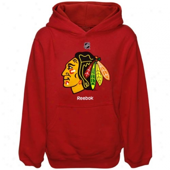 Chicago Blackhawks Toil Shirts : Reebok Chicago Blackhawks Youth Red Primary Logo Exude Shirts
