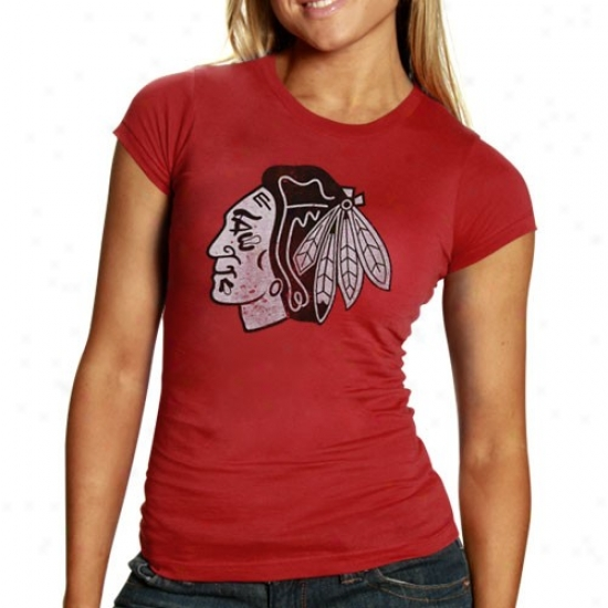 Chicago Blackhawks T-shirt : Banner '47 Chicago Blackhawks Ladies Heather Red Premium Logo T-shiet