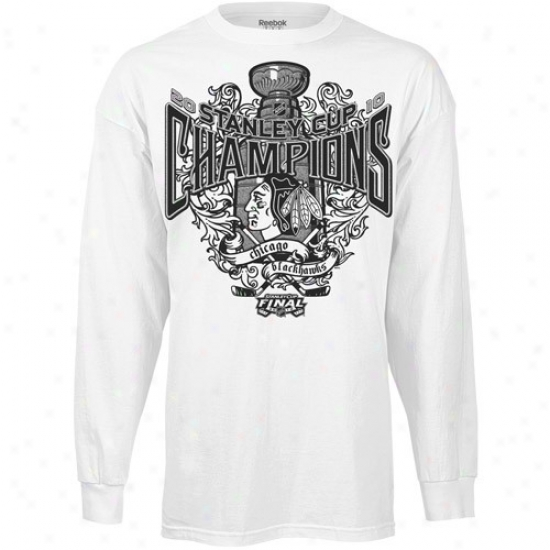 Chicago Blackhawks Tees : Reebok Chicago Blackhawks White 2010 Nhl Stanley Cup Champions Victorious Some Long Sleeve Tees