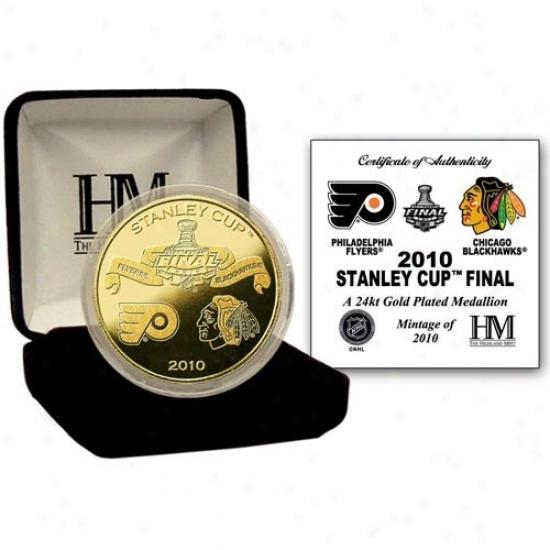 Chicago Blackhawks Vs. Philadelphia Flyers 2010 Stanley Cup 24kt Gold Commemorative Coin