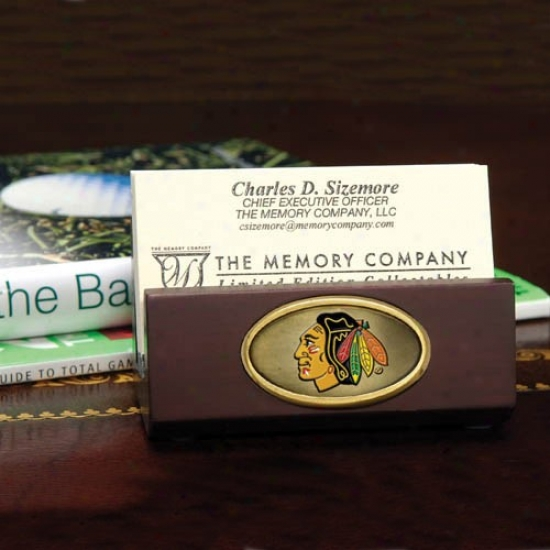 Chicago Blackhawks Wooden Business Card Holder