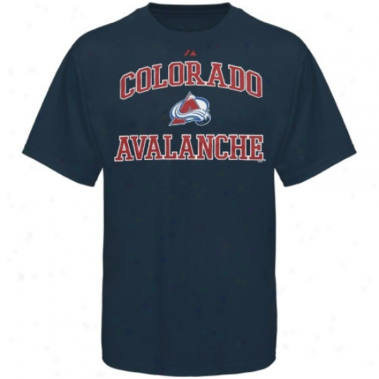 Colorado Avalanche Apparel: Majestic Colorado Avalanche Navy Blue Heart And Soul Ii T-shirt
