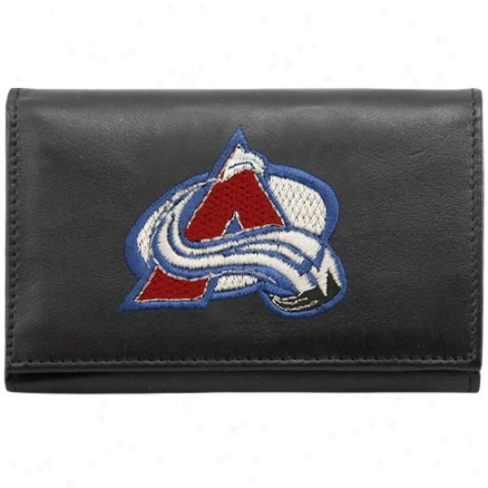 Colorado Avalanche Black Embroidered Tri-fold Leather Wallet