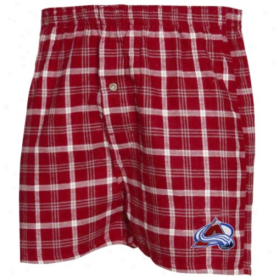 Colorado Avalanche Burgundy Plaid TailgateB oxer Shorts