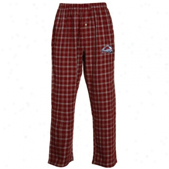 Colorado Avalanche Burgundy Plaid Tailgate Flannel Pajama Pants