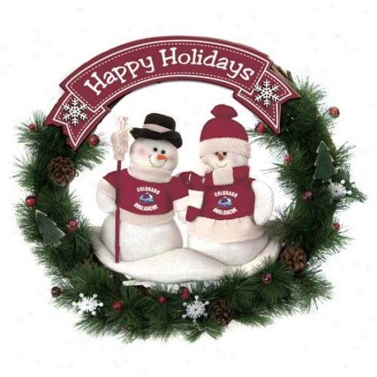 Colorado Avalanche Auspicious Holidays Wreath