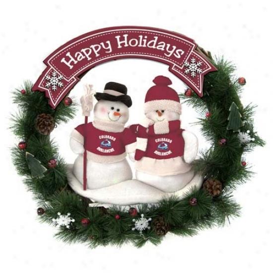 Colorado Avalanche Auspicious Holidays Wreath