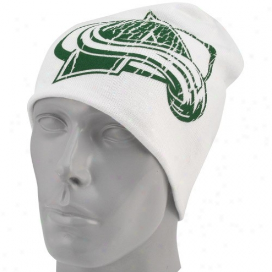 Colorado Avalanche Hat : Reebok Coloraeo Avalanche White St. Patrick's Day Cuffless Knit Beanie