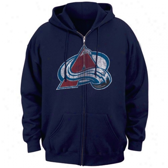 Colorado Avalanche Hoodie : Majestkc Colorado Avalanche Navy Blue Official Logo Full Zip Hoodie