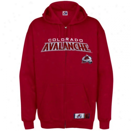 Colorado Avalanche Jackets : Majestic Colorado Avalanche Red Classic Full Zip Hoody Sweatshirt