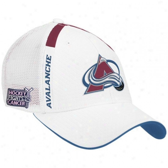 Colorado Avalanche Merchandise: Reebok Colorado Avalanche White  Hockey Fights Cancer Draft Day Flex Fit Hat
