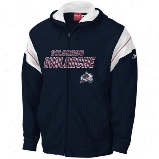 Colorado Avalanche Sweat Shirts : Reebok Colorado Avalanche Navy Blue Top Shelf Full Zip Sweat Shiys