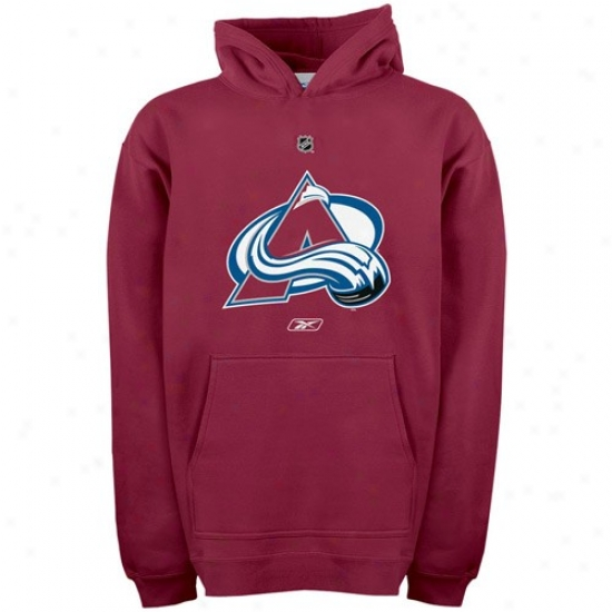 Colorado Avalanche Sweat Shirts : Reebok Colorado Avalanche Youth Garnet Primitive Logo Sweat Shirtd