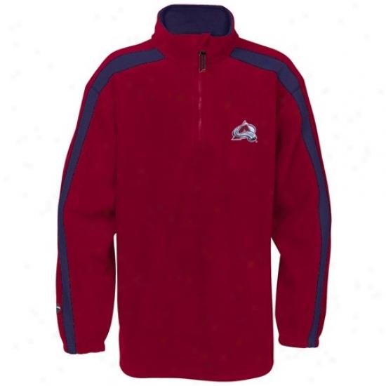 Colorado Avalanche Sweatshi5t : Majestic Colirado Avalanche Red Game Stopper 1/4 Zip Sweatshirt