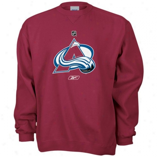 Colorado Avalanche Sweatshirt : Reebok Colorado Avalanche Burgundy Primary Logo Crew Sweatshirt