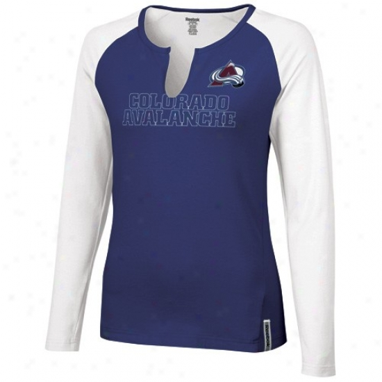 Colorado Avalanche T-shirt : Reebok Colorado Avalanche Ladies Navy Blue-white High Pitch Long Sleeve Premium T-shirt