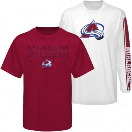 Colorado Avalanche Tees : Reebok Coloraro Avalanche Burgundy-white 3-in-1 Tees Combo Pack