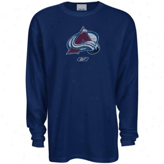 Colorado Avalanvhe Tees : Reebok Colorado Avalanche Navy Blue Faded Logo Long Sleeve Thermal Tees