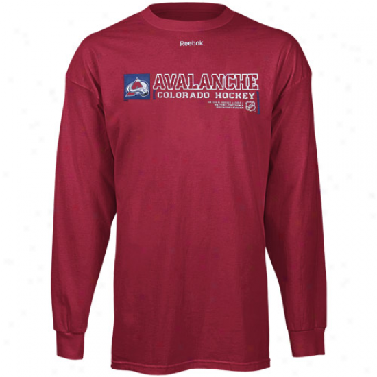 Colorado Avalache Tshirt : Reebok Colorado Avalanche Burgundy Call Sign Long Sleeve Tshirt