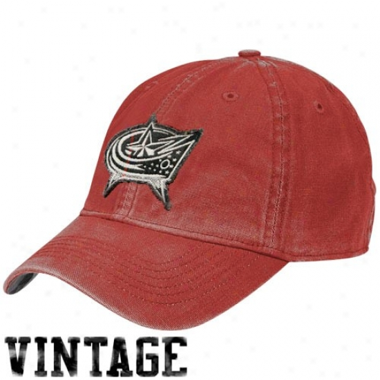 Columbus Blue Jacket Cap : Reebok Columbus Blue Jacket Red Distressed Logo Vintage Lubber Cap