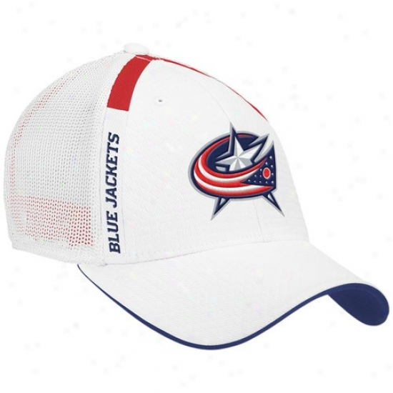 Columbus Blue Jacket Hats : Reebok Columbus Blue Jacket White  Nhl Draft Day Flex Fit Hats