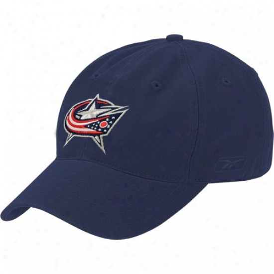 Columbus Blue Jacket Merchandise: Reebok Columbus Blue Jacket Navy Blue Face Off Slouch Flex iFt Hat