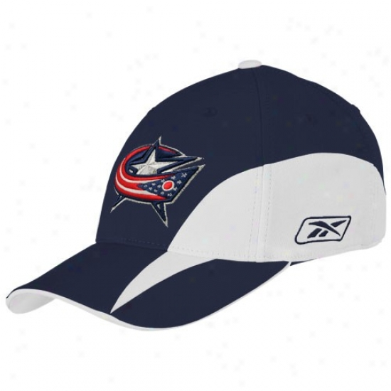 Columbus Blue Jacket Merchandise: Reebok Columbus Blue Jacket Ships Blue Ykuth Practice Stretch Fit Hat