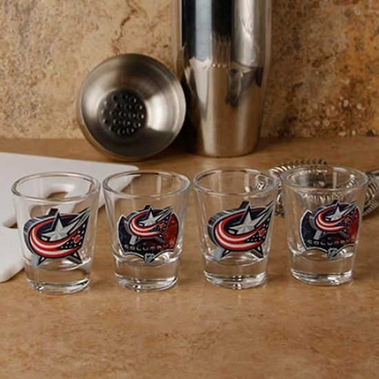 Columbus Blue Jackets 4-pack Enhanced High Definition Design Shot Glass Set