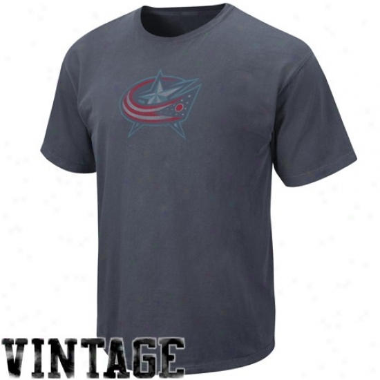 Columbus Blue Jackets Attire: Majestic Columbus Blye Jackets Navy Blue Cooperstown Big Time Play Vintage T-shirt