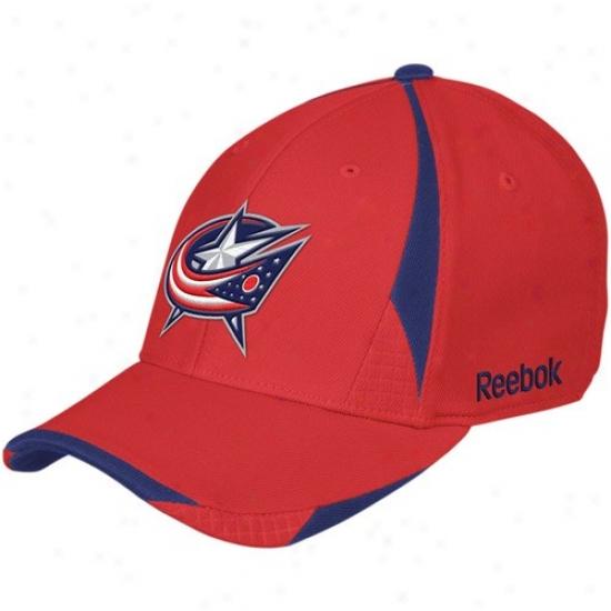 Columbus Blue Jackets Hats : Reebok Columbus Blue Jackets Red Player 2nd Season Flex Fit Hats