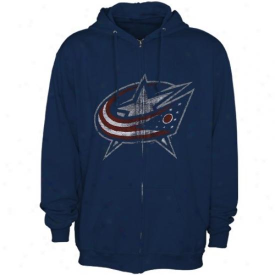 Columbus Pedantic  Jackets Hoody : Majestic Columbus Pedantic  Jackets Navy Blue Distressed Logo Full Zip Hoody