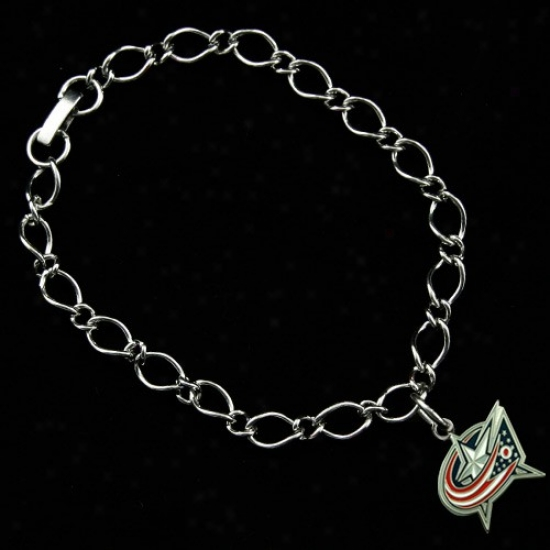 Columbus Blue Jackets Ladies Silver-tnoe Charm Bracelet